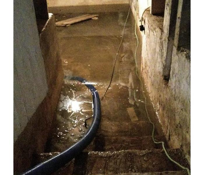 Basement flooded from excessive rain.